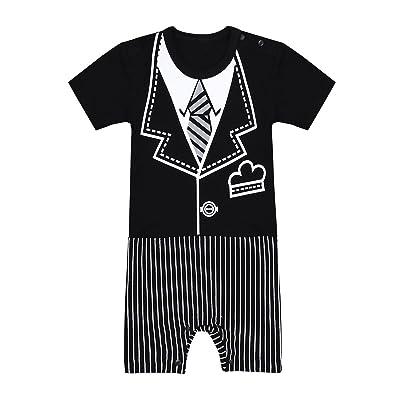 IINIIM Gentilhomme Combinaison Costumes de Baptême Anniversaire Mariage Photos Vacances Bébé Garçon Manches Courtes 3D Impression Et Cravate Coton 3-12 Mois