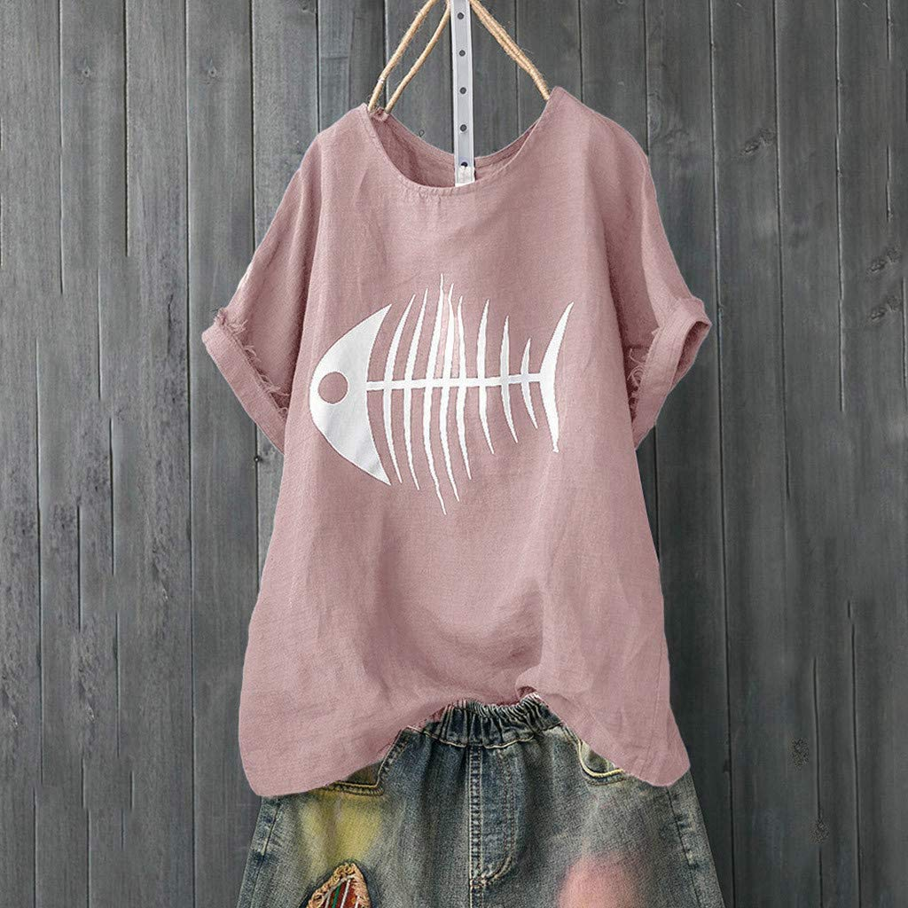 T-Shirts for Women Plus Size Clearance Hosamtel Summer Casual Cute Fish Bone Graphic Loose Fit Shirts Blouse Tops Short Sleeve