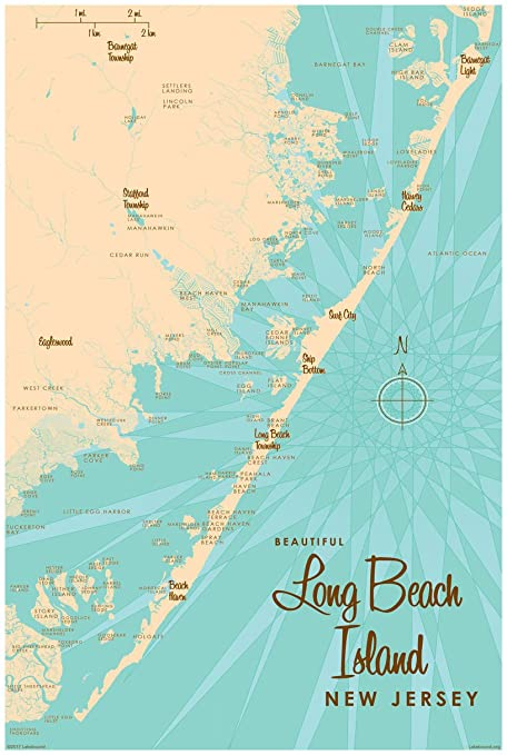 Map Of Long Beach Island Amazon.com: Long Beach Island, New Jersey Map Vintage Style Art