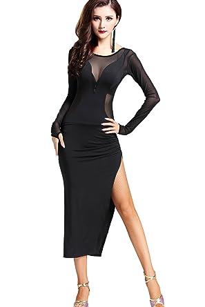 c644684e0311 Amazon.com: ZLTdream Cha Cha Latin Tango Ballroom Salsa Rumba Dance Dress  Costumes Black: Clothing