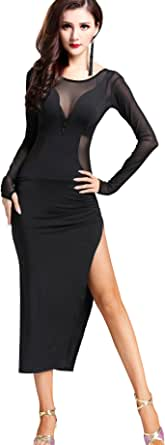 ZLTdream Cha Cha Latin Tango Ballroom Salsa Rumba Dance Dress Costumes Black