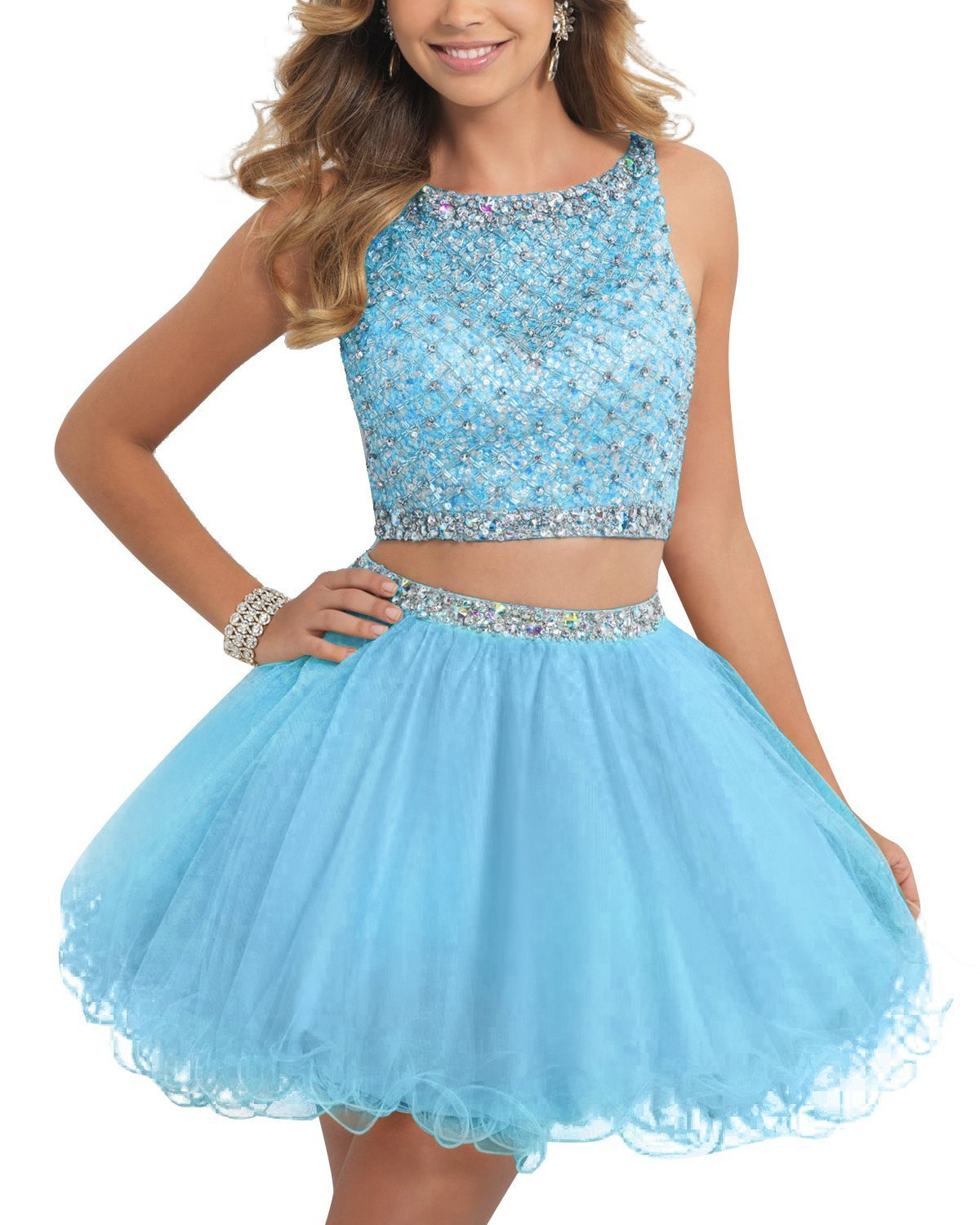 TANGFUTI Two Piece Homecoming Dresses Short Beaded Tulle Formal Prom Gowns 010 Sky Blue US4