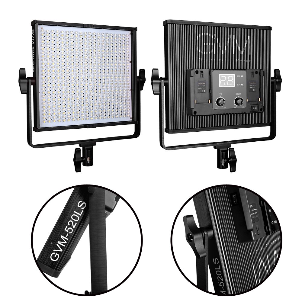 GVM 520  LED Video Light CRI97 Plus & TLCI 97+ Plus 18500lux@20 inch Variable color temperature 3200-5600K with Digital Display for Video Making and Location Shooting, Interview, Portrait, Black