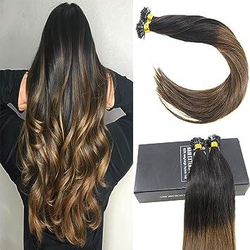 Amazon Com Sunny 14inch Flat Tip Hair Black Ombre Dark Brown Hair