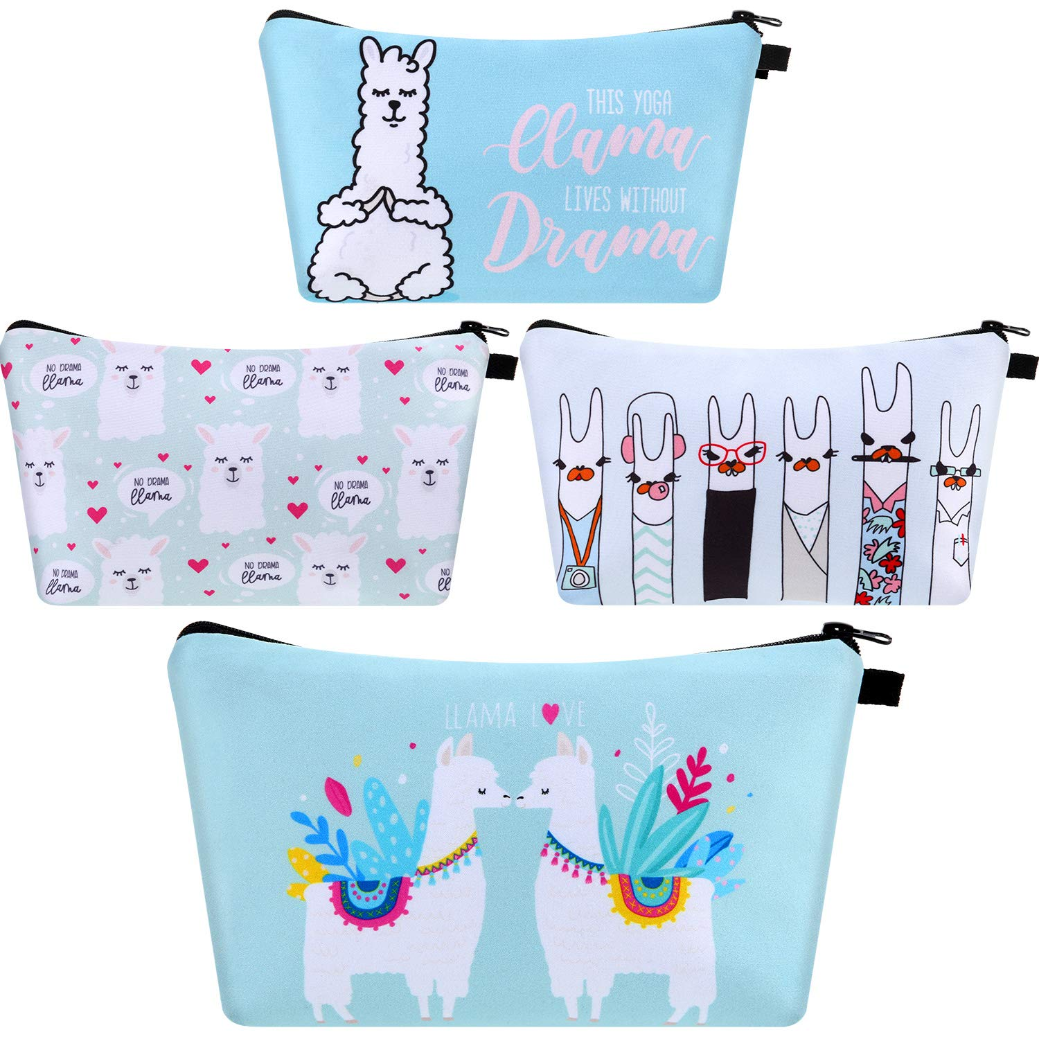 4 Pieces Llama Makeup Bag Funny Cartoon Llama Cosmetic Bags Toiletry Handbag Waterproof Brushes Storage Pouch for Women Girls Purse