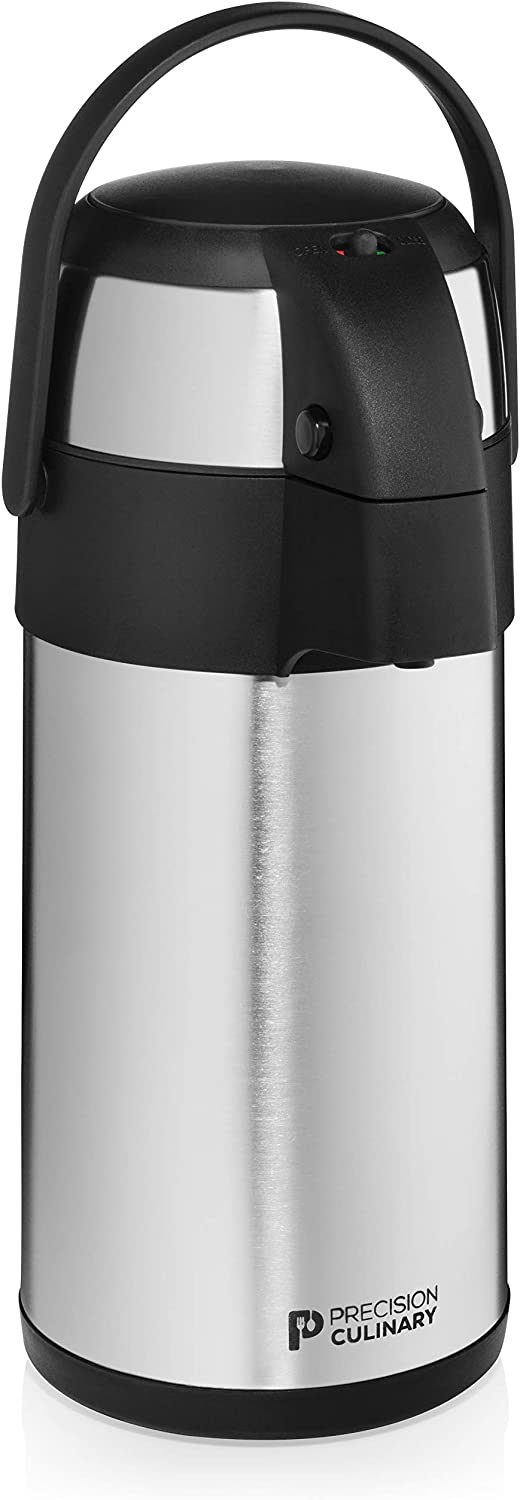 Airpot Coffee Dispenser with Pump/Stainless Steel Thermal Coffee Carafe - Three Liter (102 oz.) Hot Beverage Dispenser with On/Off Pump Switch - Vacuum Insulated for the Ultimate Heat Retention