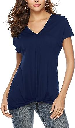 BeLuring Camiseta con Cuello en V para Mujer Tops de Manga Corta Blusa Suelta Blusas, Azul Marino 2XL: Amazon.es: Ropa y accesorios
