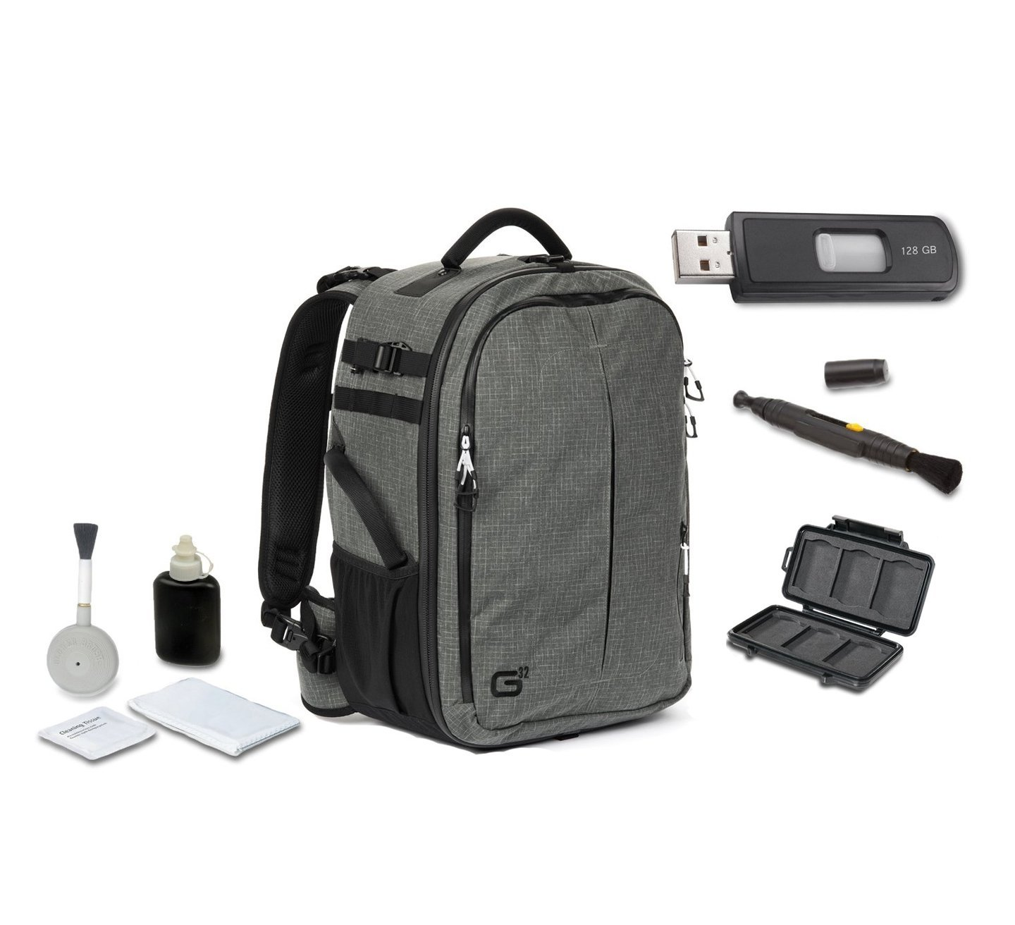 Tamrac G32 Backpack (Dark Olive) + High Speed 128GB USB Stick + Cleaning Kit 4pc + Lens Pen Cleaning Brush + Memory Card Wallet