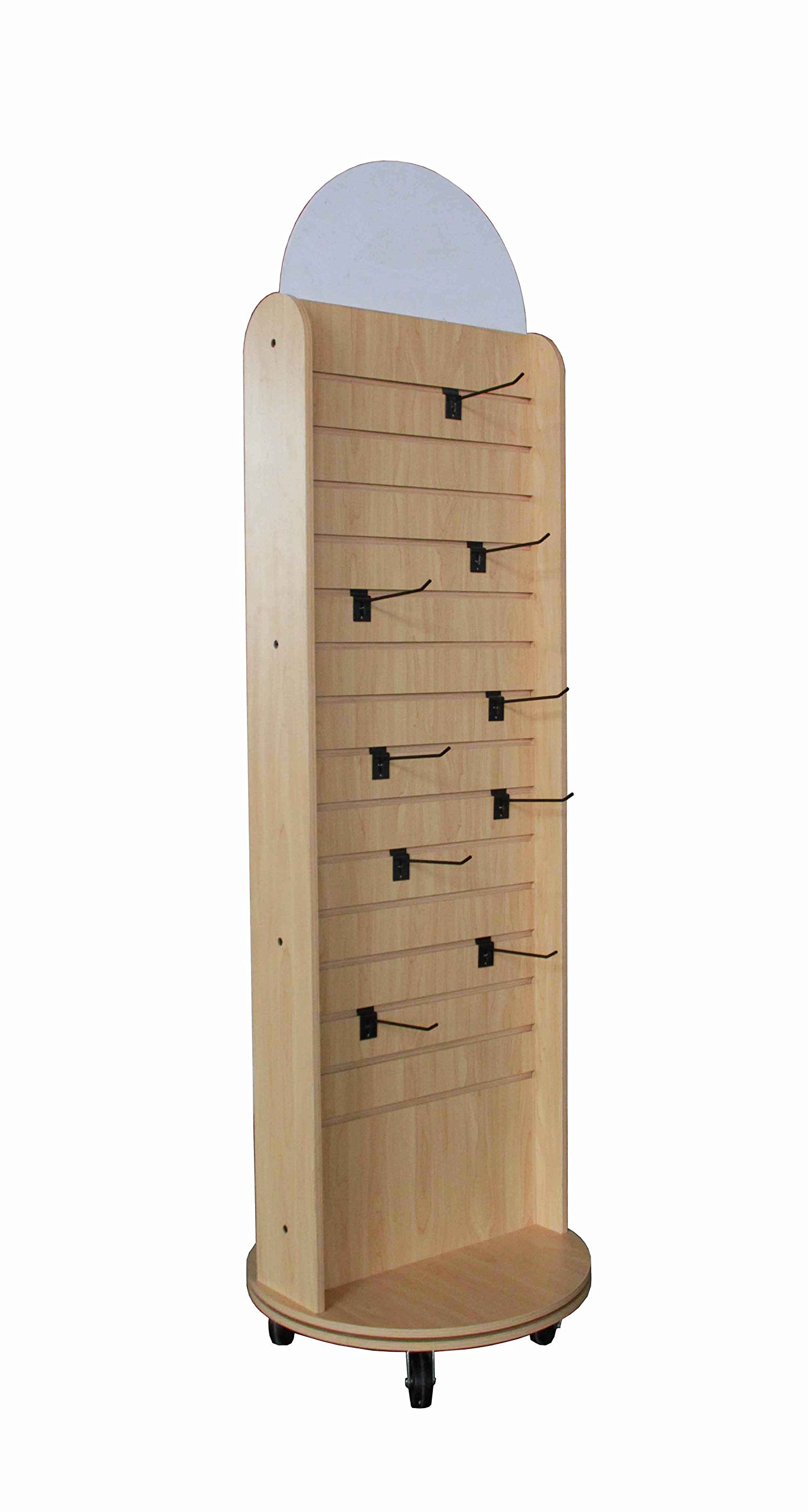 Double Sided Slatwall Rotating Display Wood Floor Standing Rack 10309