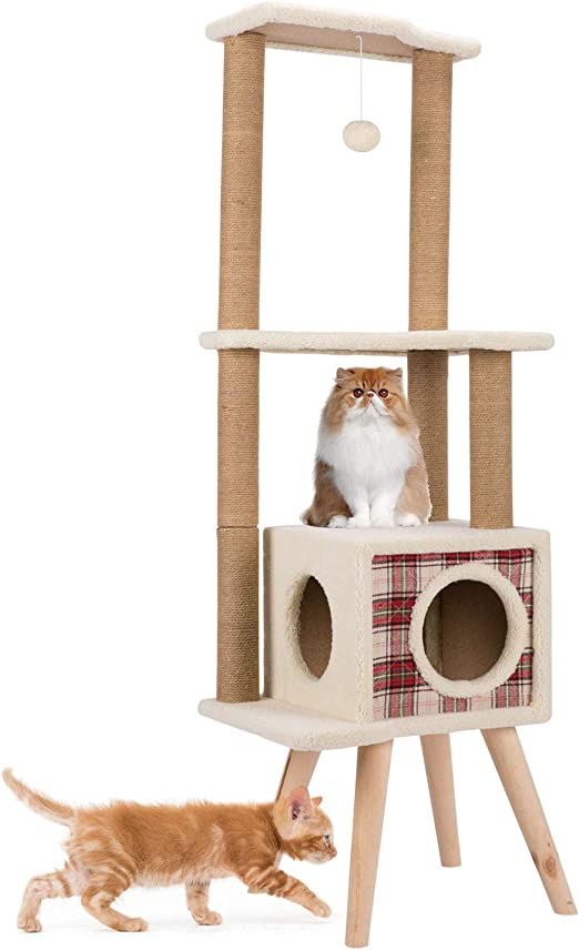 Gemeinsa Árbol para Gato Torre de Algodón Escalera Rascador Casa Juguete Muebles Estable Recubrimiento de Felpa (Alto): Amazon.es: Productos para mascotas