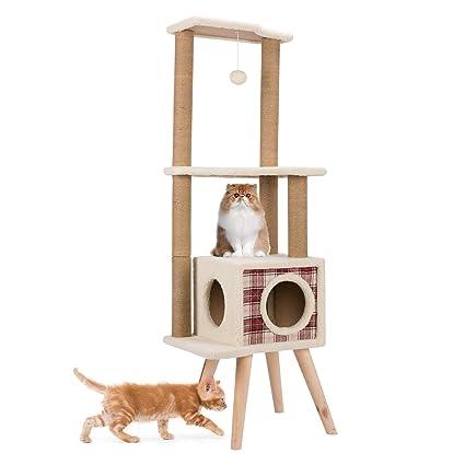 Gemeinsa Árbol para Gato Torre de Algodón Escalera Rascador Casa Juguete Muebles Estable Recubrimiento de Felpa
