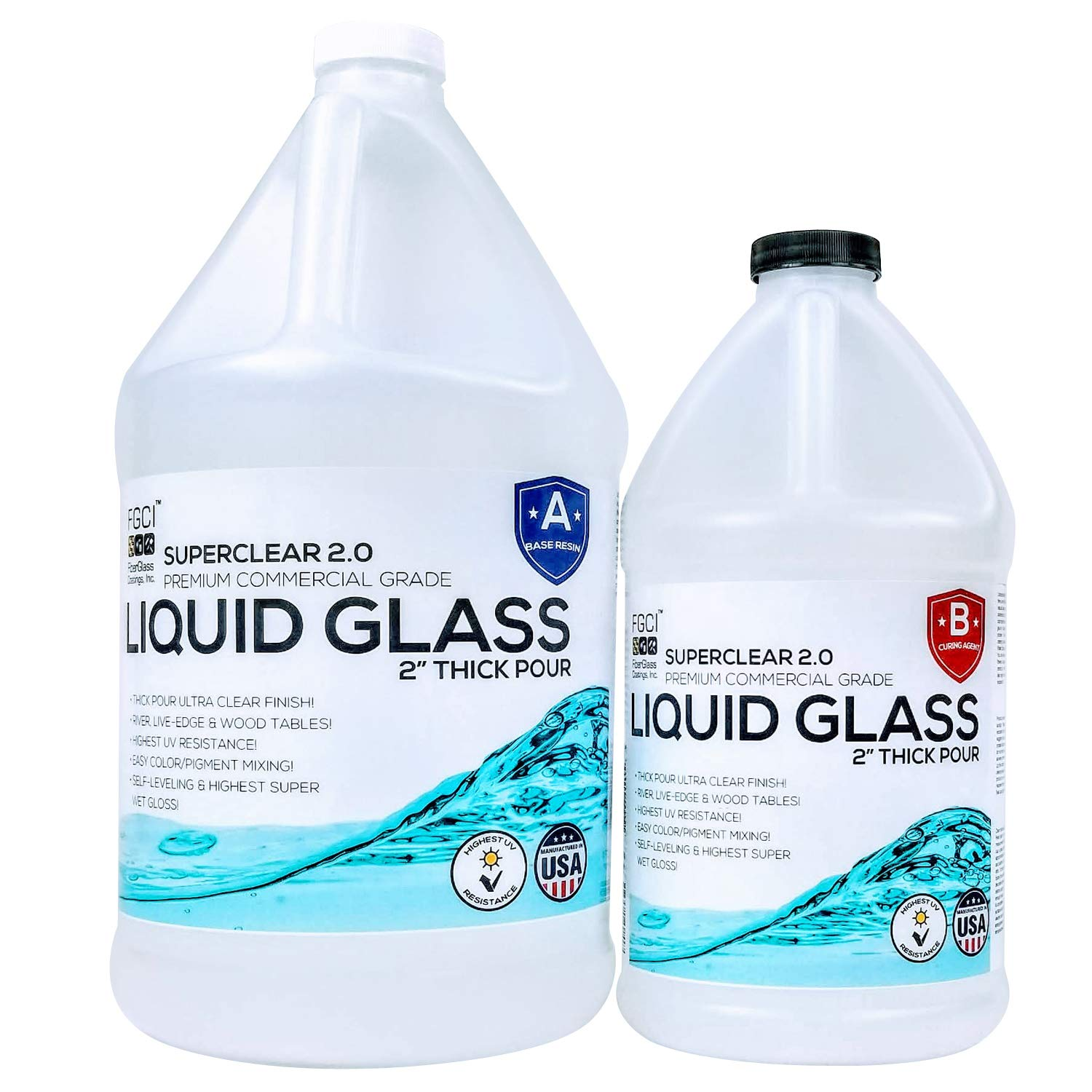 """Liquid Glass 2"""" Thick Pour 2:1 [1.5 GL], Epoxy Resin Crystal Clear 2.0 Self Leveling 2 Part Epoxy Resin Kit Live Edge Epoxy Table, Resin Wood and DIY Epoxy River Table, 1GL Base Resin & ½GL Hardener"""