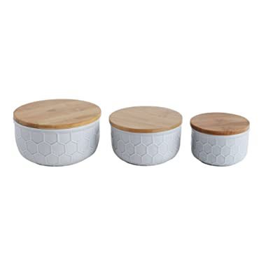 Bloomingville Matte Grey Bowls with Bamboo Lid (Set of 3), 3 Piece