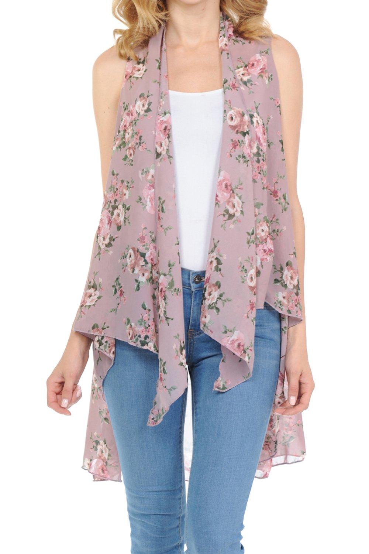 BASICO Women's Open Asymmetrical Hem Print Chiffon Vest Cardigan (One Size, 7002-2 English Pink)