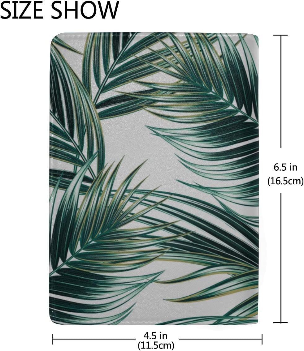 Tropical Palm Leaves Jungle Leaves Seamless Blocking Print Passport Holder Cover Case Travel Luggage Passport Wallet Card Holder Made With Leather For Men Women Kids Family