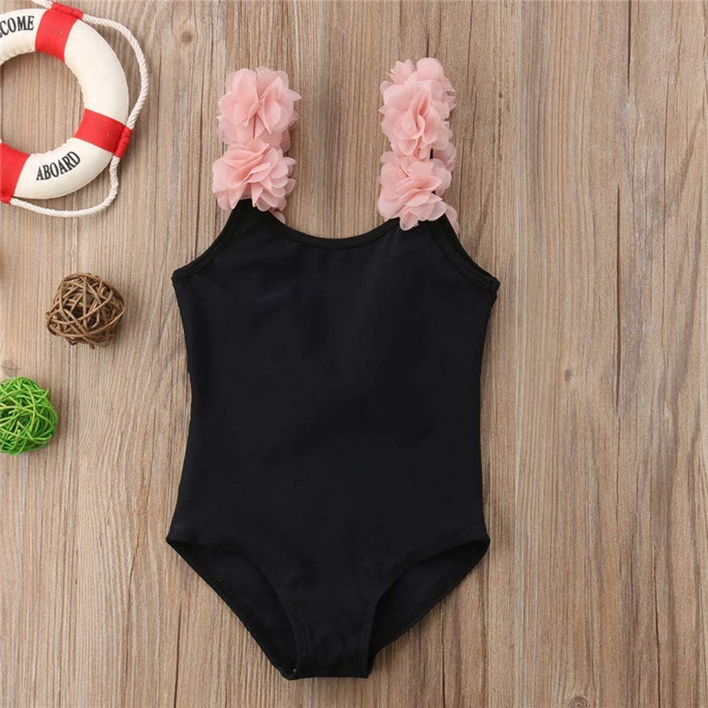 Newmao Toddler Girls Summer Swimsuit Sleeveless Backless Froal Princess Beach Swimwear