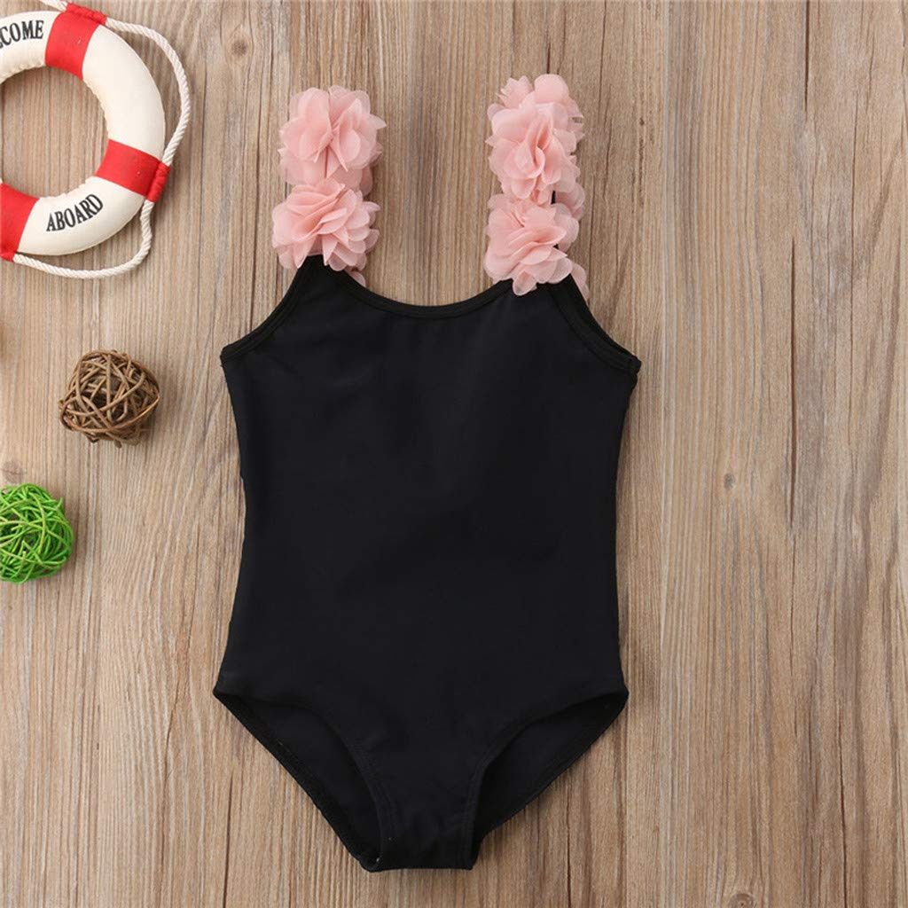 Efaster Toddler Baby Kids Girl Floral Flower Swimwear One-Piece Swimsuit Beach Romper Bathing Suit Clothes 0-4 Years