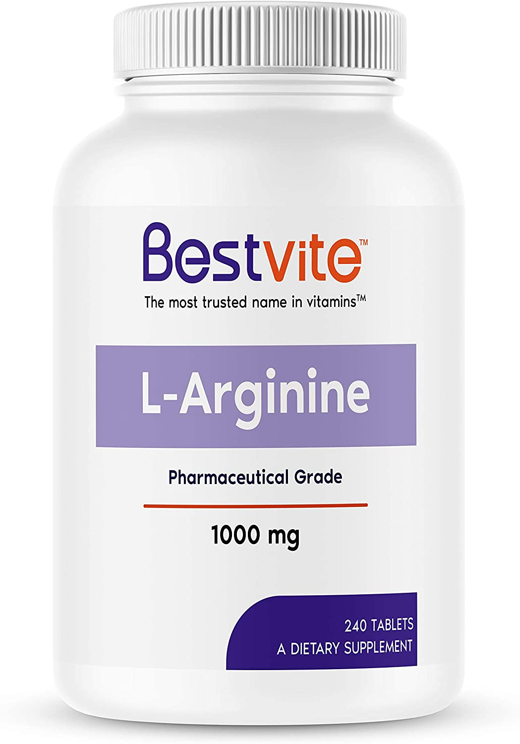 L-Arginine 1000mg (240 Tablets) containing 20% More Pure L-Arginine as Compared to L-Arginine HCL Products