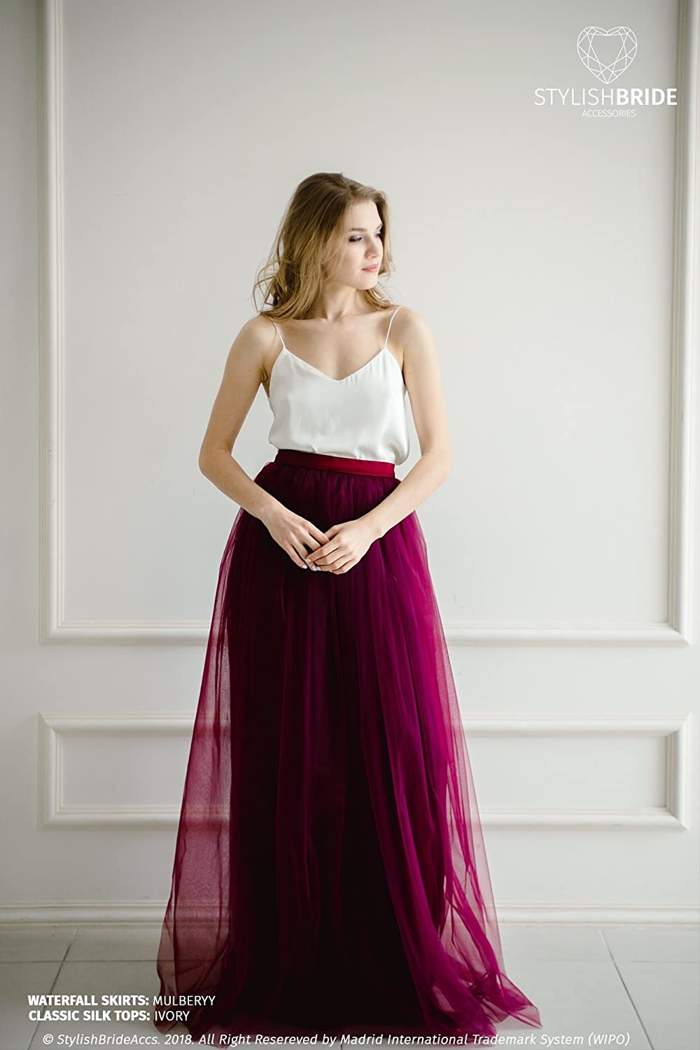 acaef5ae48c7 Amazon.com: Mulberry Bridesmaids Dress with Silk Classic Cami Top and Tulle  Skirt, Wine Long Floor Length Waterfall Tulle Skirt, Prom Wine Dress:  Handmade
