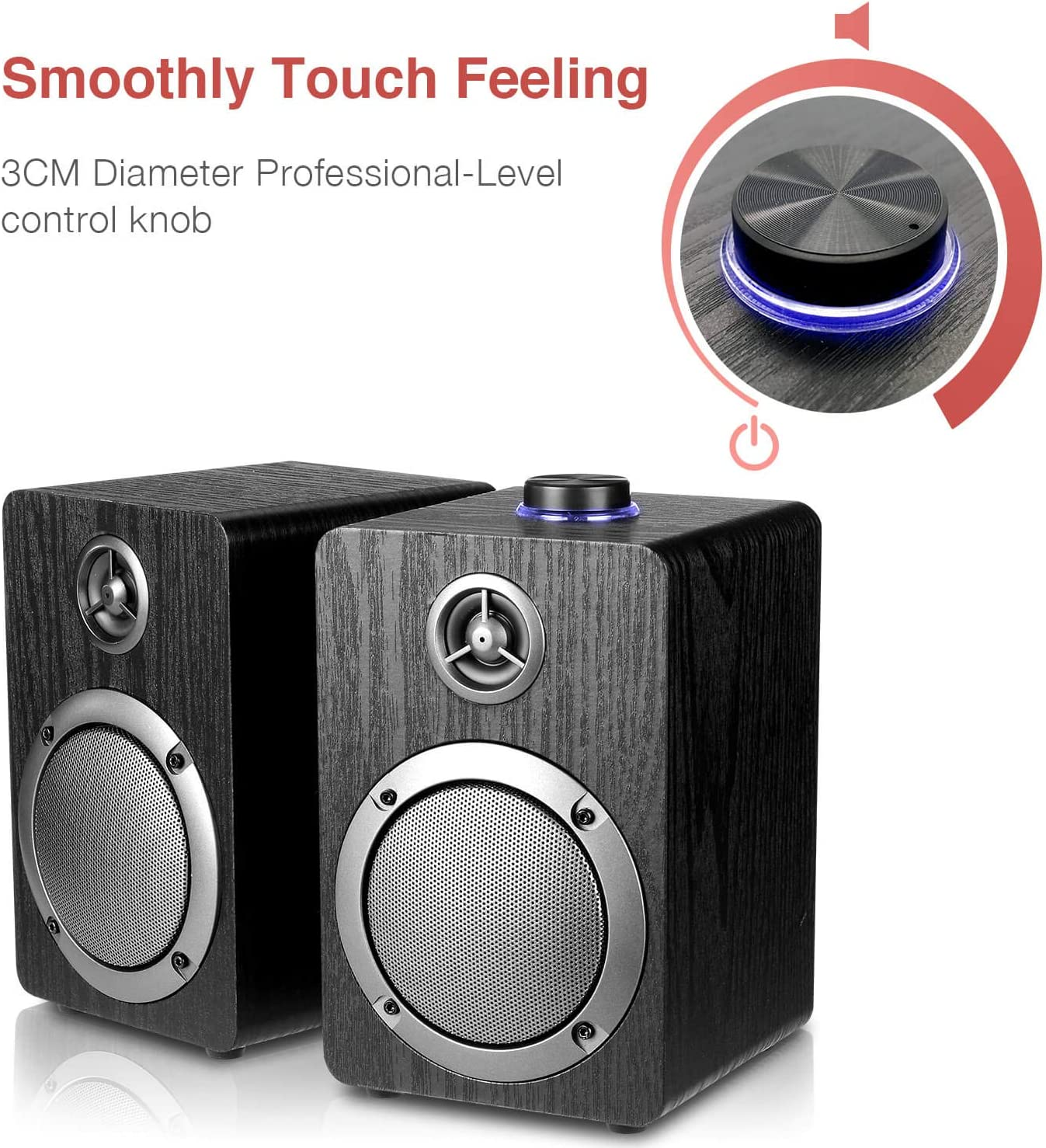 Black Wooden Wired LED Volume Control Mini Speaker for Multiple Devices USB-Powered PC Computer Speakers; Mica PB20 with 2.0CH Surround Sound