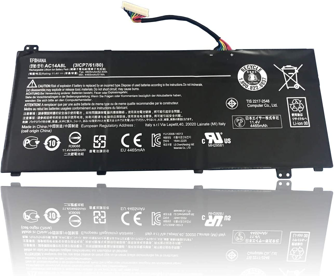 efohana AC14A8L Laptop Battery Replacement for Acer Aspire N7-591G-70TG V15 Nitro VN7-591G V17 MS2395 VN7-591G VN7-791G Series Notebook 3ICP7/61/80 11.4V 52.5Wh 4605mAh