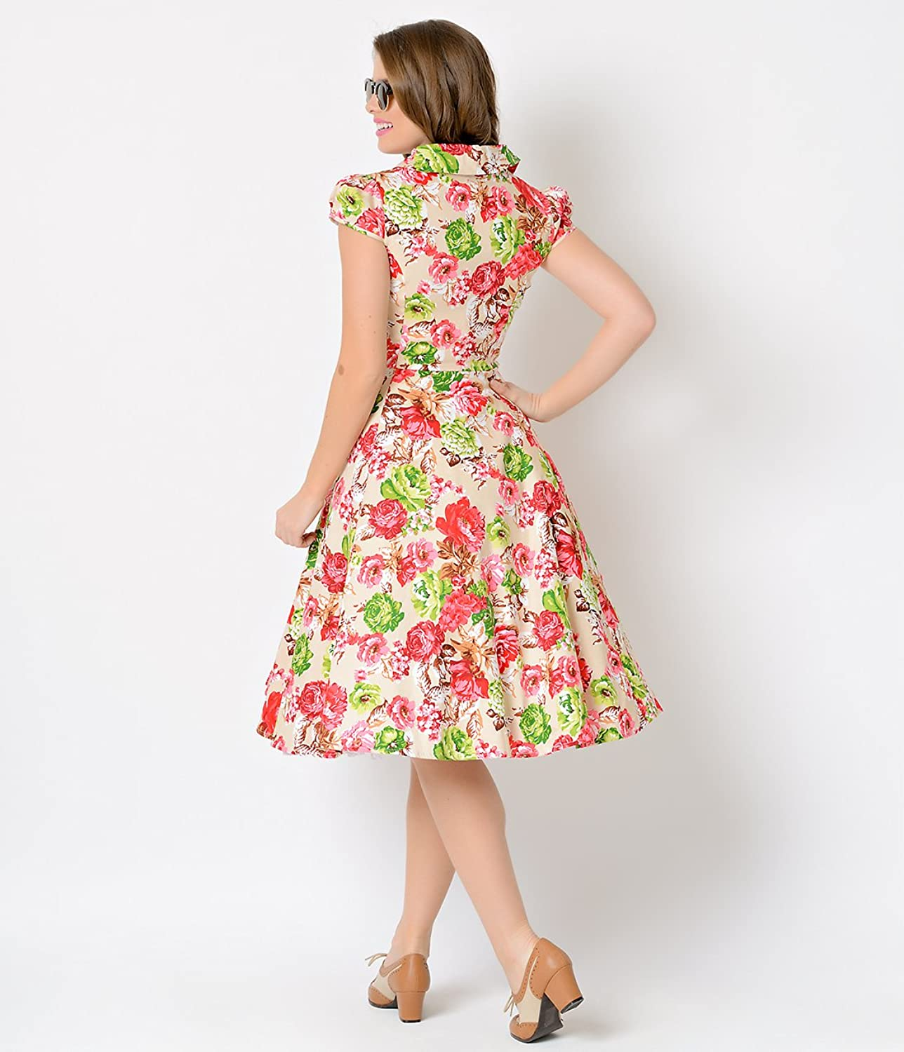 1950s Tan & Pink Floral Cap Sleeve Joanne Stretch Swing Dress