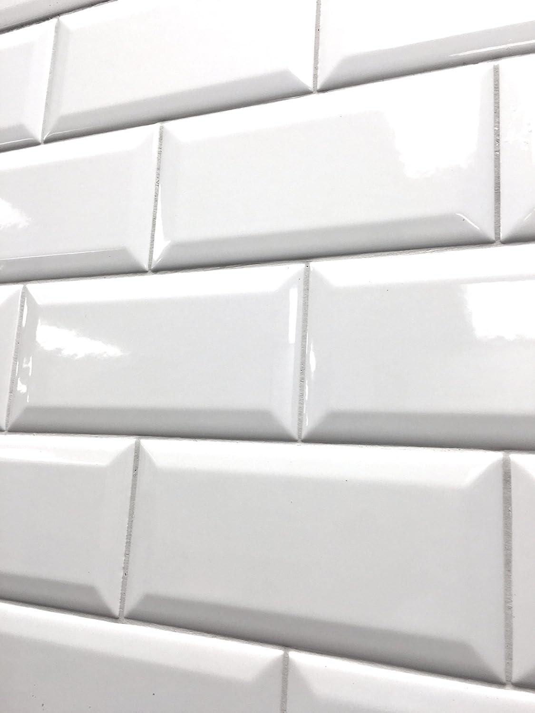 - Amazon.com: 3x6 White Glossy Finish Beveled Ceramic Subway Tile
