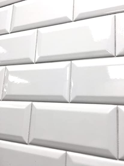 Amazoncom X White Glossy Finish Beveled Ceramic Subway Tile - Best place to buy subway tile