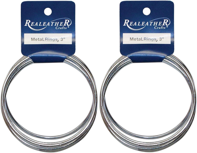 6-Pack 3-Inch BRI-03-06 Realeather Crafts Zinc Metal Rings