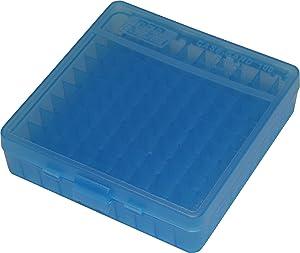 MTM 100 Round Flip-Top Ammo Box 40/45/10MM Cal (Clear Blue)