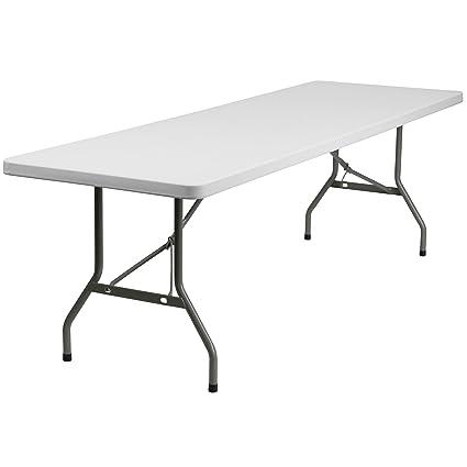 Flash Furniture 30u0027u0027W X 96u0027u0027L Granite White Plastic Folding Table