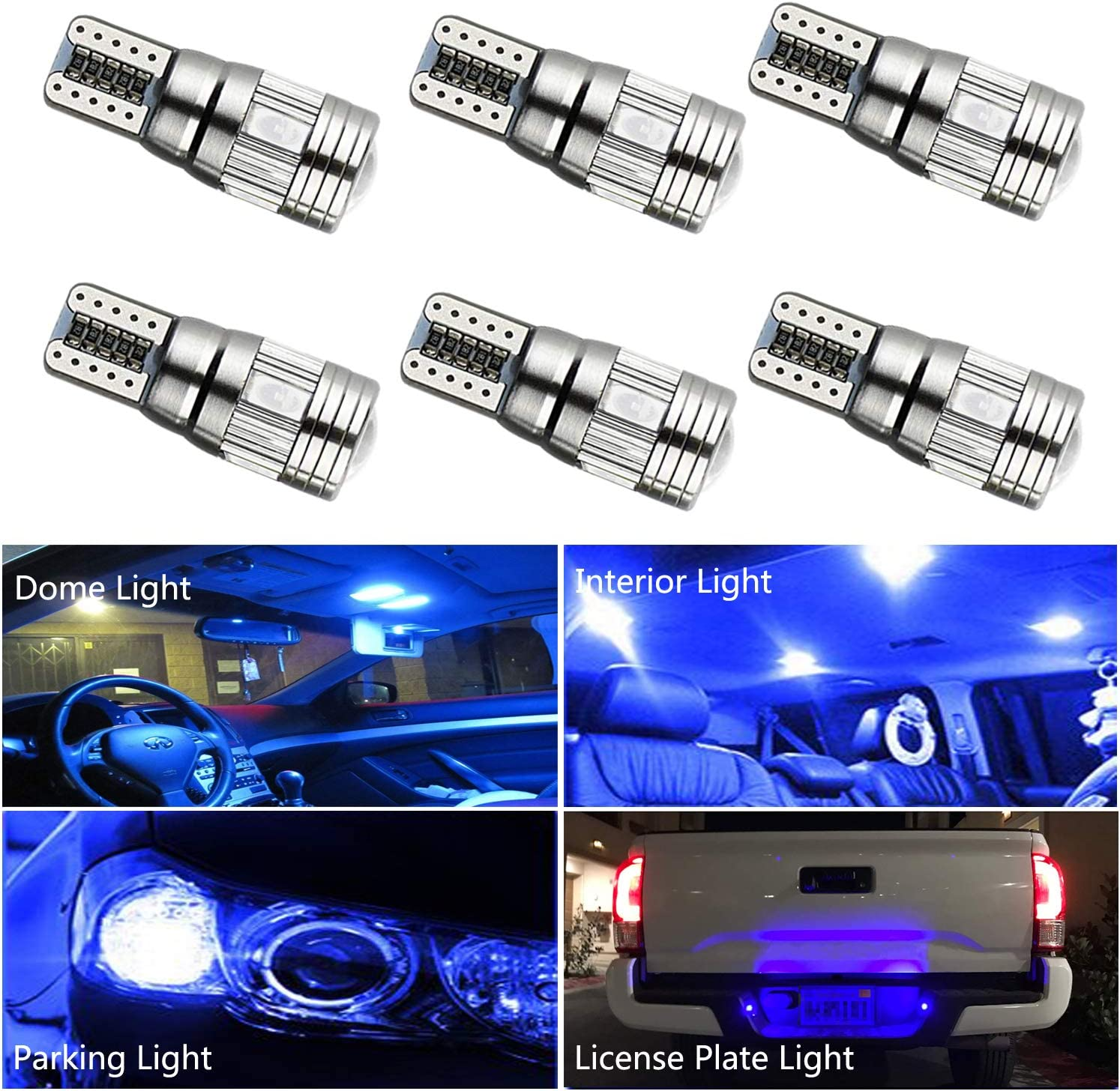 HOCOLO 6x T10 198 194 168 912 921 W5W 2825 6-SMD Canbus Error Free Blue Color High Power LED Bulb For Interior Dome/Map/License Plate/Parking/Door/Trunk Lights (6pcs T10 6-SMD Canbus Error Free, Blue)