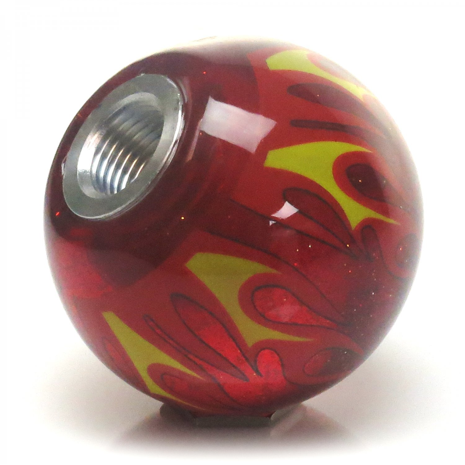 Orange 6 Speed Shift Pattern - Dots 26 Red Flame Metal Flake with M16 x 1.5 Insert American Shifter 297168 Shift Knob