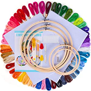 POween Embroidery Kit for Beginners-Starter, Upgrade Cross Stitch Tool Kit Full 50 Color Embroidery Floss Thread, 5 Pcs Embroidery Hoops, 2 Pcs Aida Cloth, Including Instruction (50 Colors)