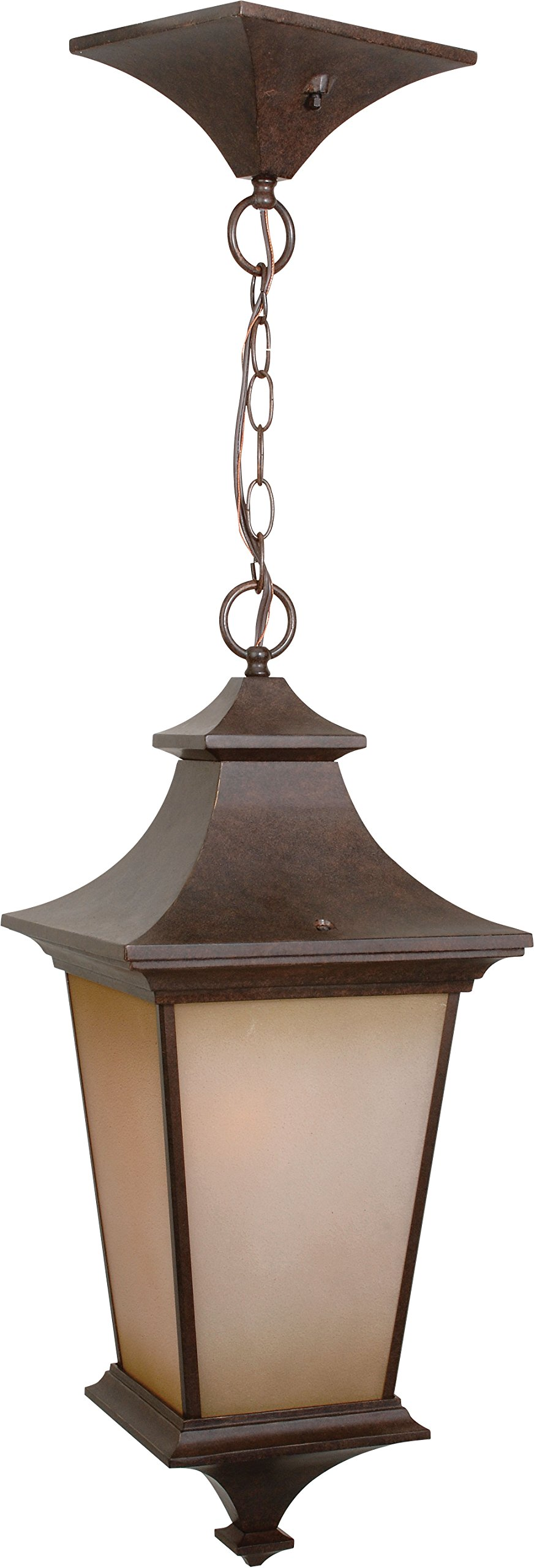 Craftmade Z1321-98 Hanging Lantern with Champagne Frost Glass Shades, Bronze Finish