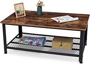 KingSo Industrial Coffee Table with Storage Shelf, Wood Look Accent Furniture with Metal Frame, Easy Assembly, Rustic Brown