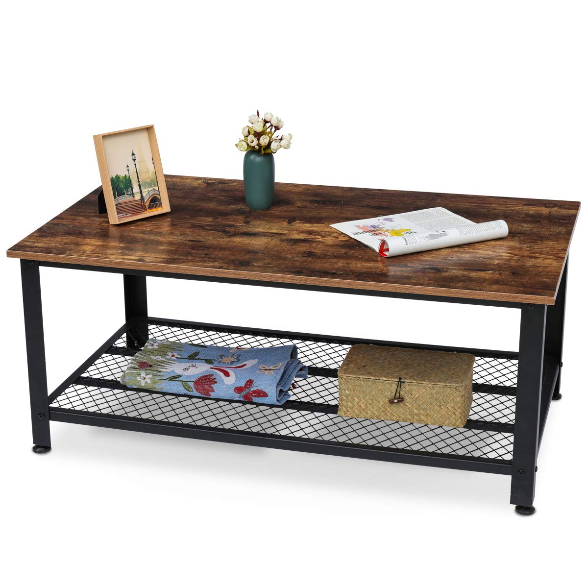 KingSo Industrial Coffee Table with Storage Shelf, Wood Look Accent Furniture with Metal Frame, Easy Assembly, Rustic Brown by KINGSO