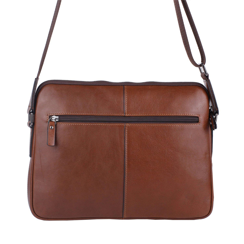 Banuce Small Vintage Leather Menssenger Bag for Men Shoulder Crossbody Bag Brown by Banuce (Image #3)