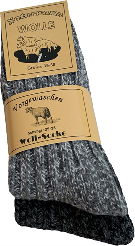 2 Paar Naturwarme Damen Socken aus 80% Schafwolle / Vorgewaschen daher sehr weich / waschmaschienenfest in grau / anthrazit