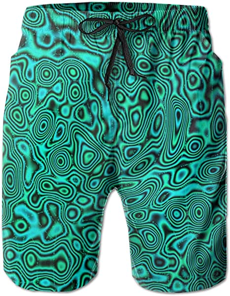 Mens Beach Swimming Trunks Polynesian Tattoo Tapa Designs in Blue Swimsuit Swim Underwear Boardshorts with Pocket