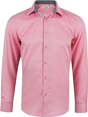 Camisa Oxford slim fit rosa para hombre con manga larga talla S: Amazon.es: Ropa y accesorios