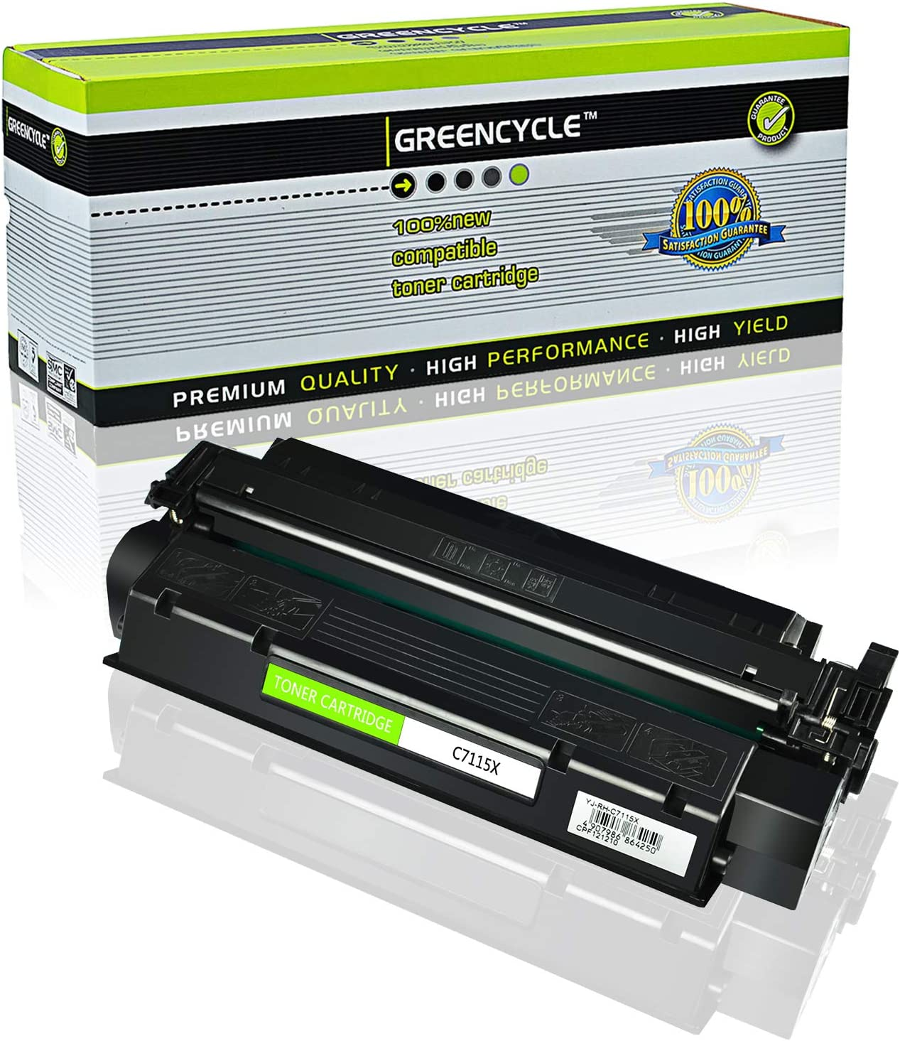 Black, 1-Pack GREENCYCLE 3500 Pages per High Yield Toner Cartridge Replacement Compatible for HP 15X C7115X Used in Laserjet 1000 1005W 1200n 1220 3300 MFP 3320 3330 MFP 3380
