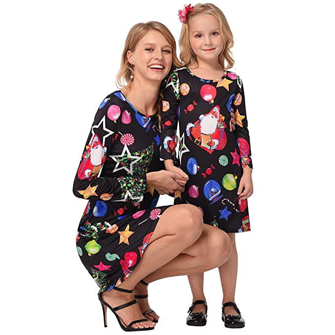 68676de6fad64 Mommy and Me Fashion Stripe Deer Print Long Sleeve Dress Matching Family  Clothes Black Santa Women