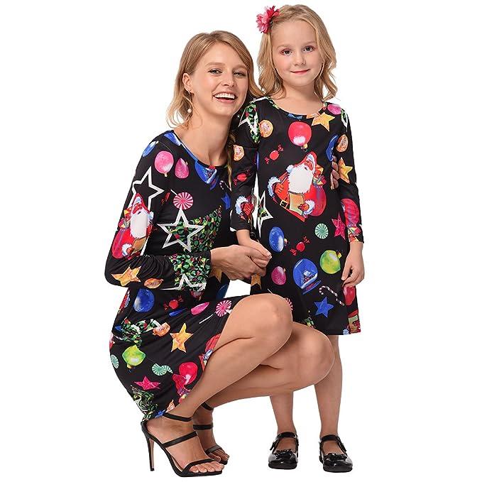 5fe911e5c0f Mommy and Me Fashion Stripe Deer Print Long Sleeve Dress Matching Family  Clothes Black Santa Women
