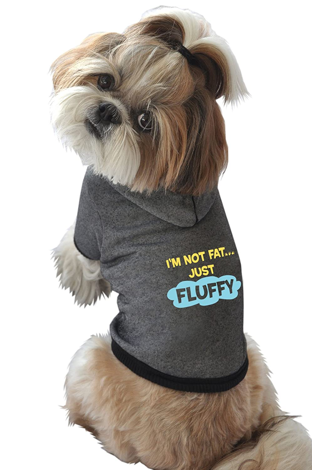 Ruff Ruff and Meow Dog Hoodie, Im Not Fat Just Fluffy, Black, Small