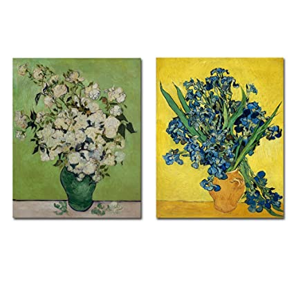 Wieco art irises in vase floral canvas prints wall art by van gogh classic artwork famous