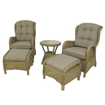 Conjunto de jardín | Mesa Auxiliar, 2 sillones reclinables y ...