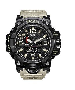 Reloj de pulsera para hombre de dial doble digital Reloj de pulsera para hombre de negocios militar multifuncional Reloj analógico resistente a golpes S electrónico (Caqui)