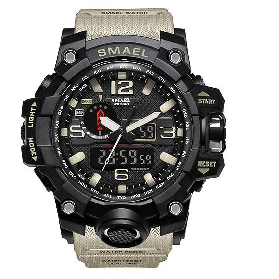 Analógico Digital Reloj Militar reloj deportivo para hombre doble esfera Business Casual multifunción electrónico muñeca relojes resistente al reloj de ...