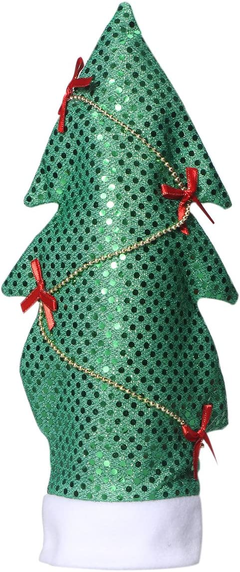 Tinksky Christams Decoration Sequins Christmas Tree Shape Wine Bottle Cover Bags Cap Candy Gift Wrap Home Party Dinner Table Bar Decor